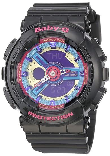 5be62c36de3a98 Casio Women's Baby G Quartz 100M WR Shock Resistant Resin Color: Black with  Multi Color Face (Model BA-112-1ACR): Amazon.ca: Watches