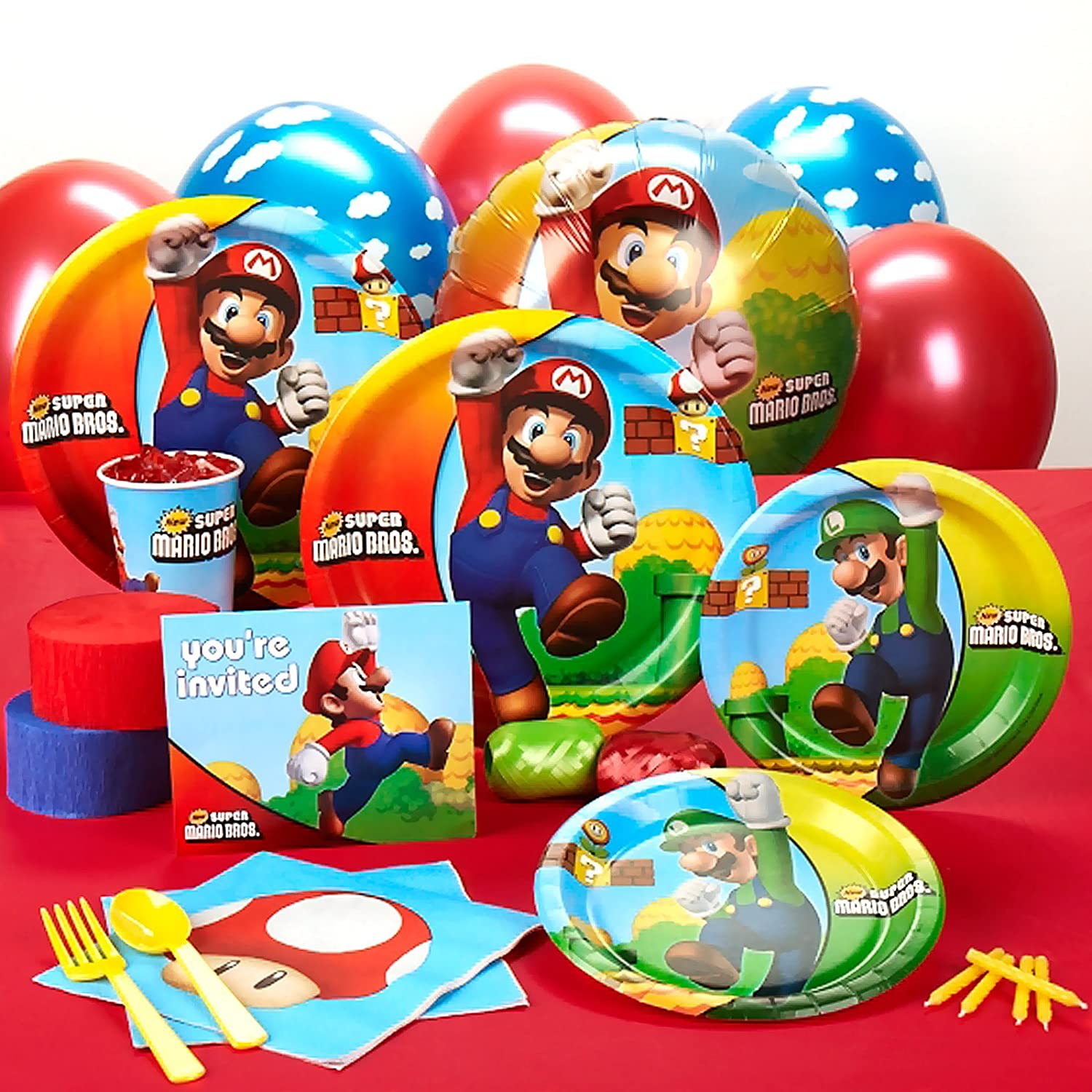 Amazon super mario bros party supplies standard party pack amazon super mario bros party supplies standard party pack for 16 toys games monicamarmolfo Gallery