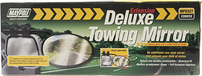 DELUXE EXTENSION TOWING CONVEX REAR VIEW MIRROR CARAVAN UNIVERSAL MAYPOLE MP8327