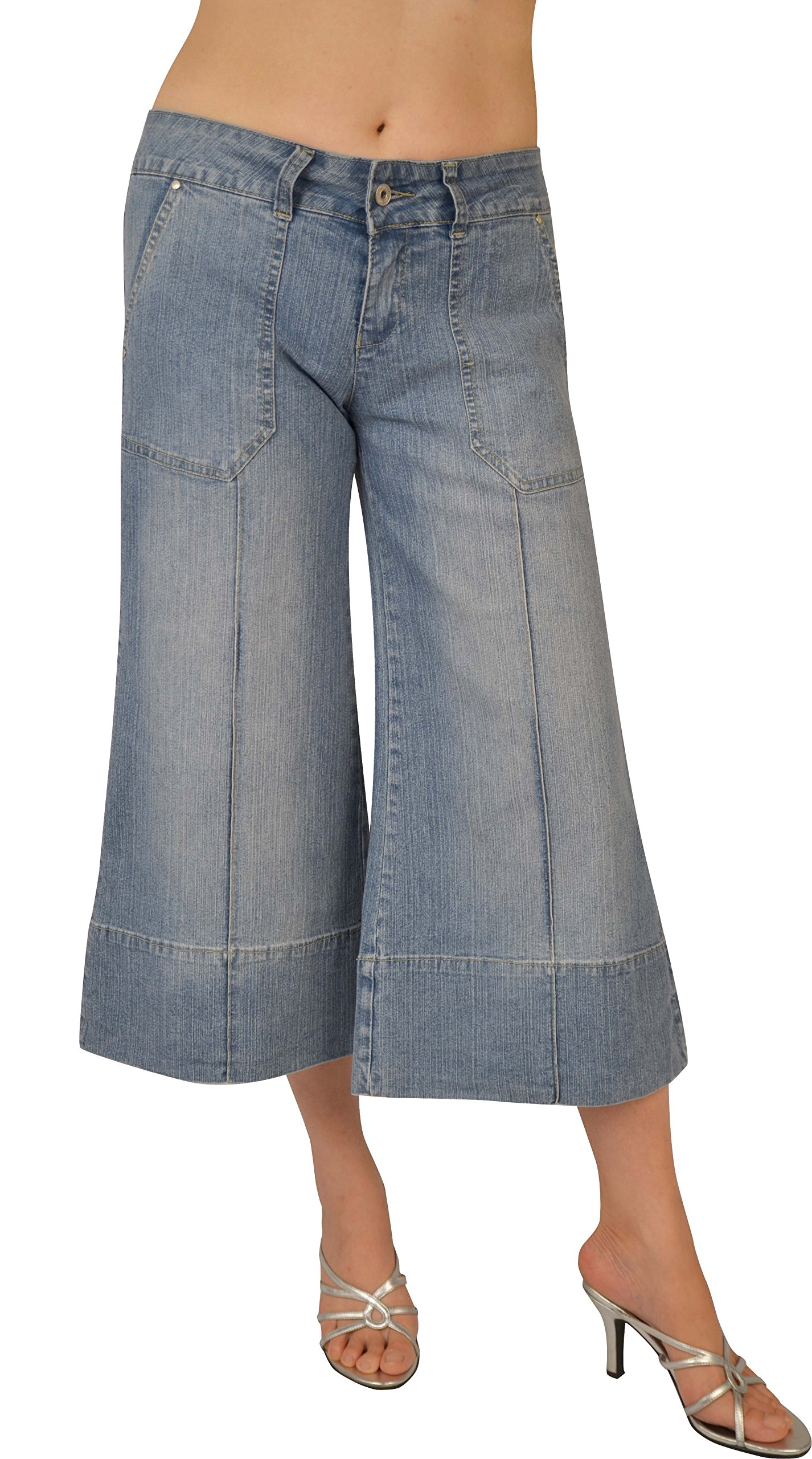 Kit Womens Lt. Sand Blue Stretch Denim Gaucho #L217 Size: 9 by KEEP IN TOUCH (Image #1)