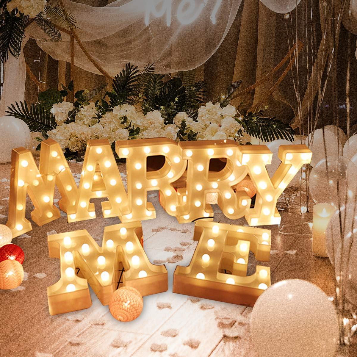 Lettres de l/'alphabet /à LED avec lumi/ère blanche chaude pour d/écoration d/'int/érieur mariage ou festival bar f/ête