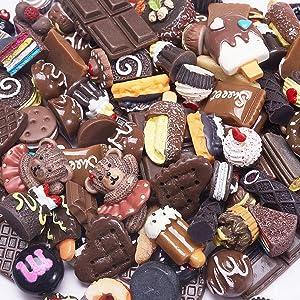 Airssory 200 Pcs Resin Chocolate Food Miniature Fake Cookies Cake Ice Cream Dessert Sweetmeats Cabochons Flatbacks Slime Charms for DIY Art Craft Decoden Scrapbooking Embellishments - 10~35x6~25mm