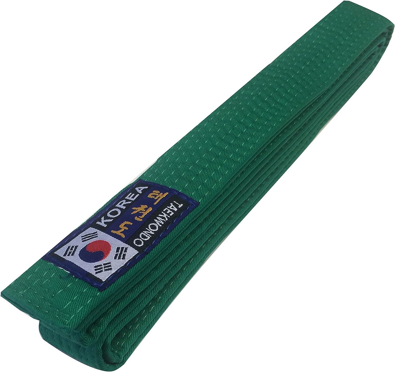Budodrake Korea Taekwondo G/ürtel schwarz mit Bestickung Taekwondo koreanisch und lateinisch