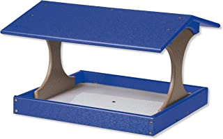 product image for DutchCrafters Deluxe Fly-by Post Mount Poly Bird Feeder with Screen Floor (Weathered Wood & Blue)