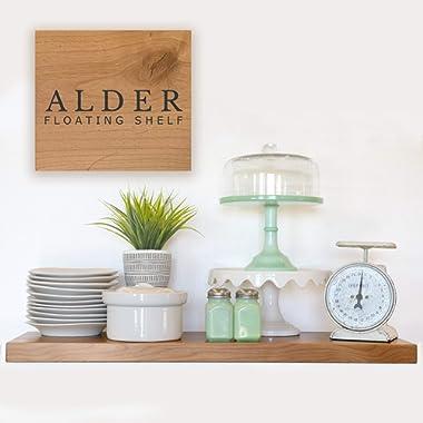 Floating Shelf - Solid Furniture Grade Alder Floating Shelves with EZ Mount Hidden Bracket (Natural, 21Lx12D)
