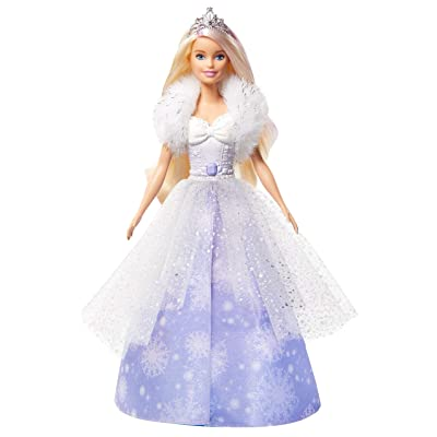 ​Barbie Dreamtopia Fashion Reveal Princess Doll, 12-Inch, Blonde with Pink Hairstreak, Snowflake Gown and Hairbrush: Toys & Games
