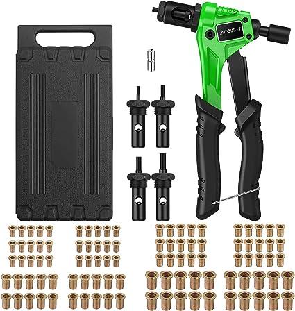 Autoutlet Nietmutternzange Set Profi Hand Nietzange Mit M3 M4 M5 M6 Dorne Und 100pcs Nieten 8 Mini Nietmutternpistole Nietmaschine Mit Werkzeugbox Hand Riveter Rivet Gun Riveting Tools Grün Baumarkt