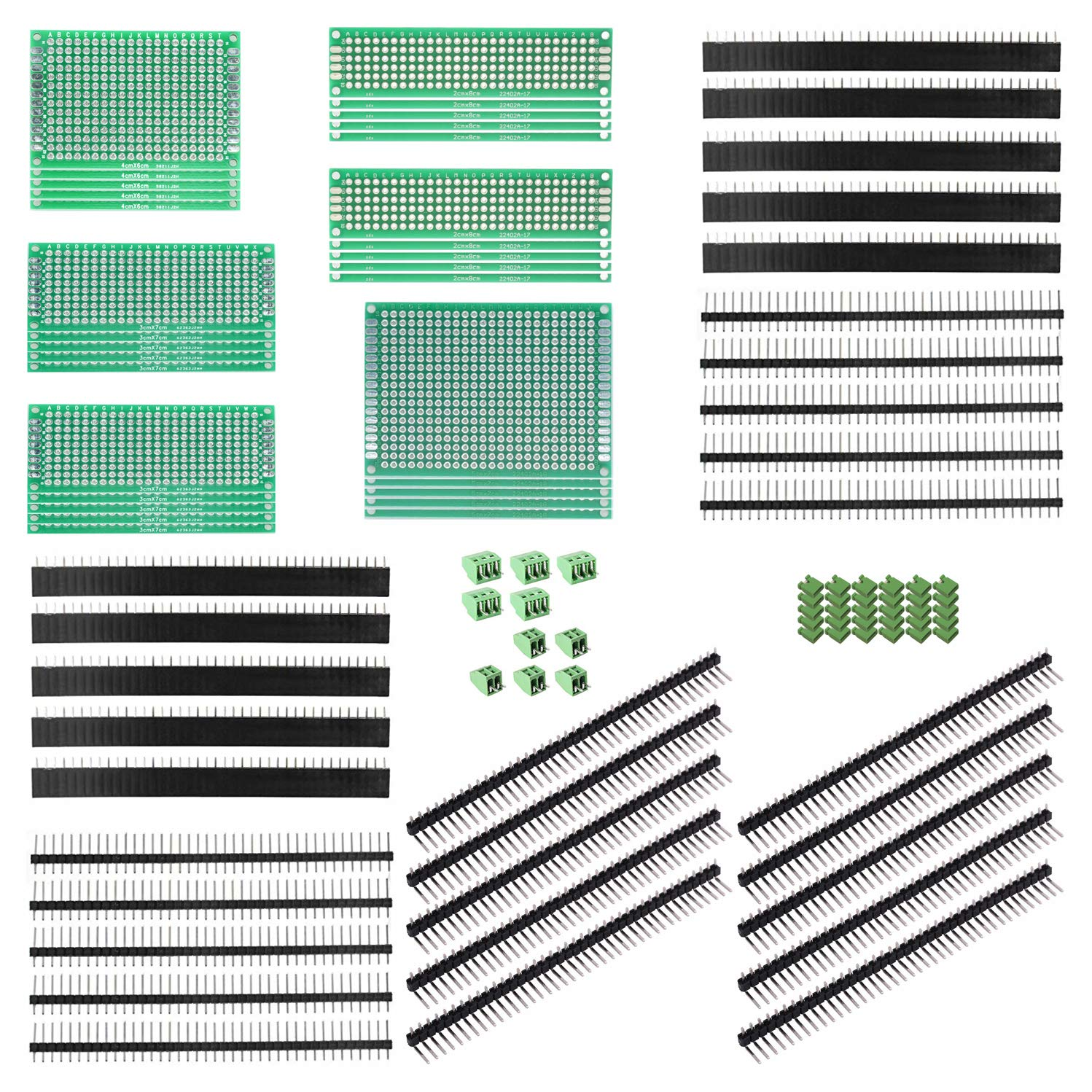 ALLDREI 100 Pcs Double Sided PCB Board Prototype Kit for DIY Soldering Compatible with Arduino Kits