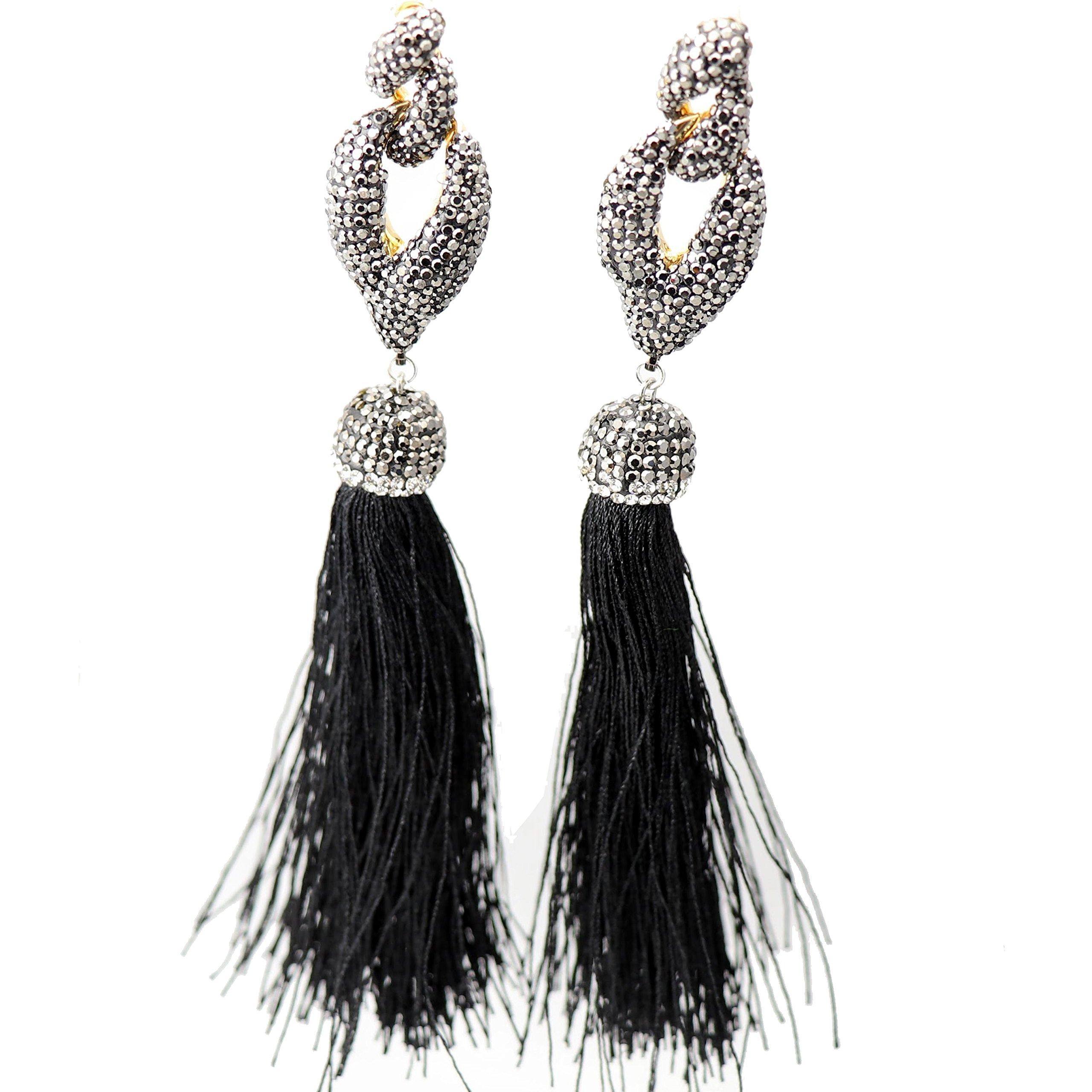 NEW Big Bold Beautiful High End Fashion Tassel Rhinestone Drop Dangle Druzy CZ Stud Earrings   28 Designs (Dancing Black) by Trend Builder Inc (Image #1)