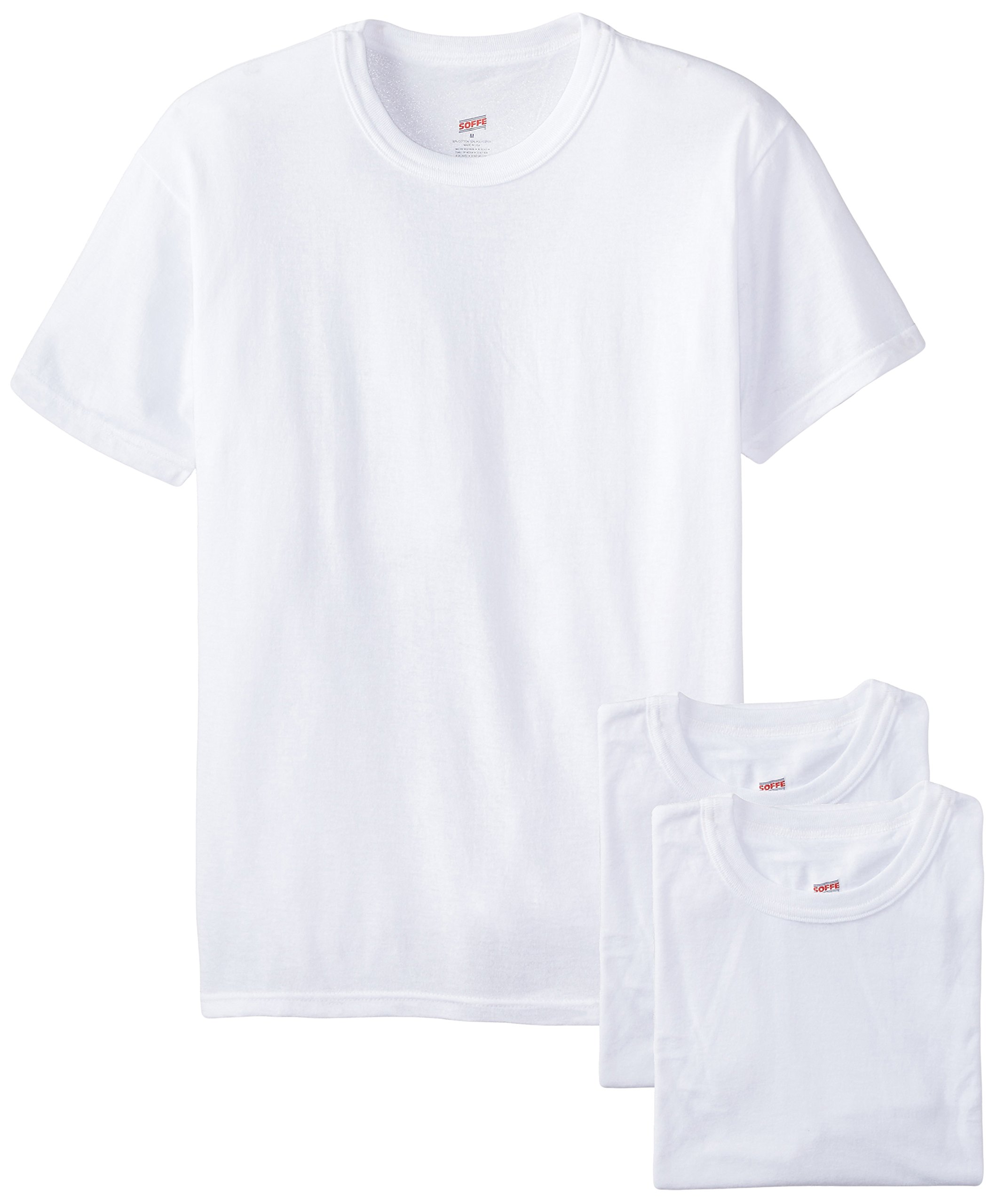 Soffe Men's 3-Pack Short Sleeve Crew Neck Military T-Shirt, White, Small