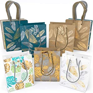 ARTEZA Gift Bags 9.5 x 7 x3.4 Inches, set of 15 Pieces, 5 Mixed Designs, 2 Kraft and 3 Colored Leaves and Feathers Pattern, 3 Pieces in Each Design