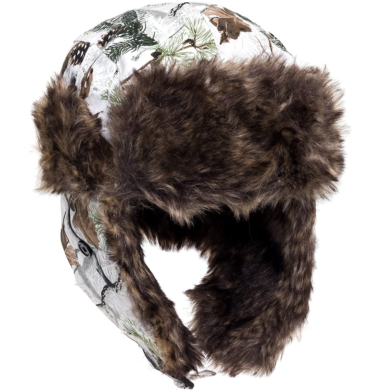 f82eee702ed80 Amazon.com  Dakota Dan Winter Trooper Hat White Snow Camo with White Rabbit  Faux Fur Trim - One Size Fits Most  Clothing