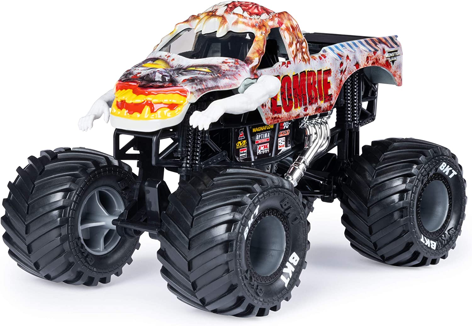 Amazon Com Monster Jam Official Zombie Monster Truck Die Cast Vehicle 1 24 Scale Toys Games