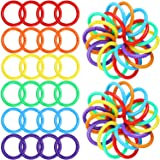 144 Pieces Plastic Loose Leaf Rings Multi-Color Binder Rings Plastic Book Rings Flexible for Cards, Document Stack and Swatches Organization School Home, or Office Use, 6 Colors (27 mm)