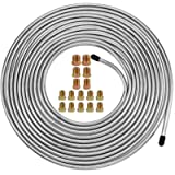 Muhize 25 Ft. of 3/16 Zinc-Coated Brake Line Tubing Kit - 25 ft 3/16 Steel Tube Roll for Fuel, Transmission (Includes 16…