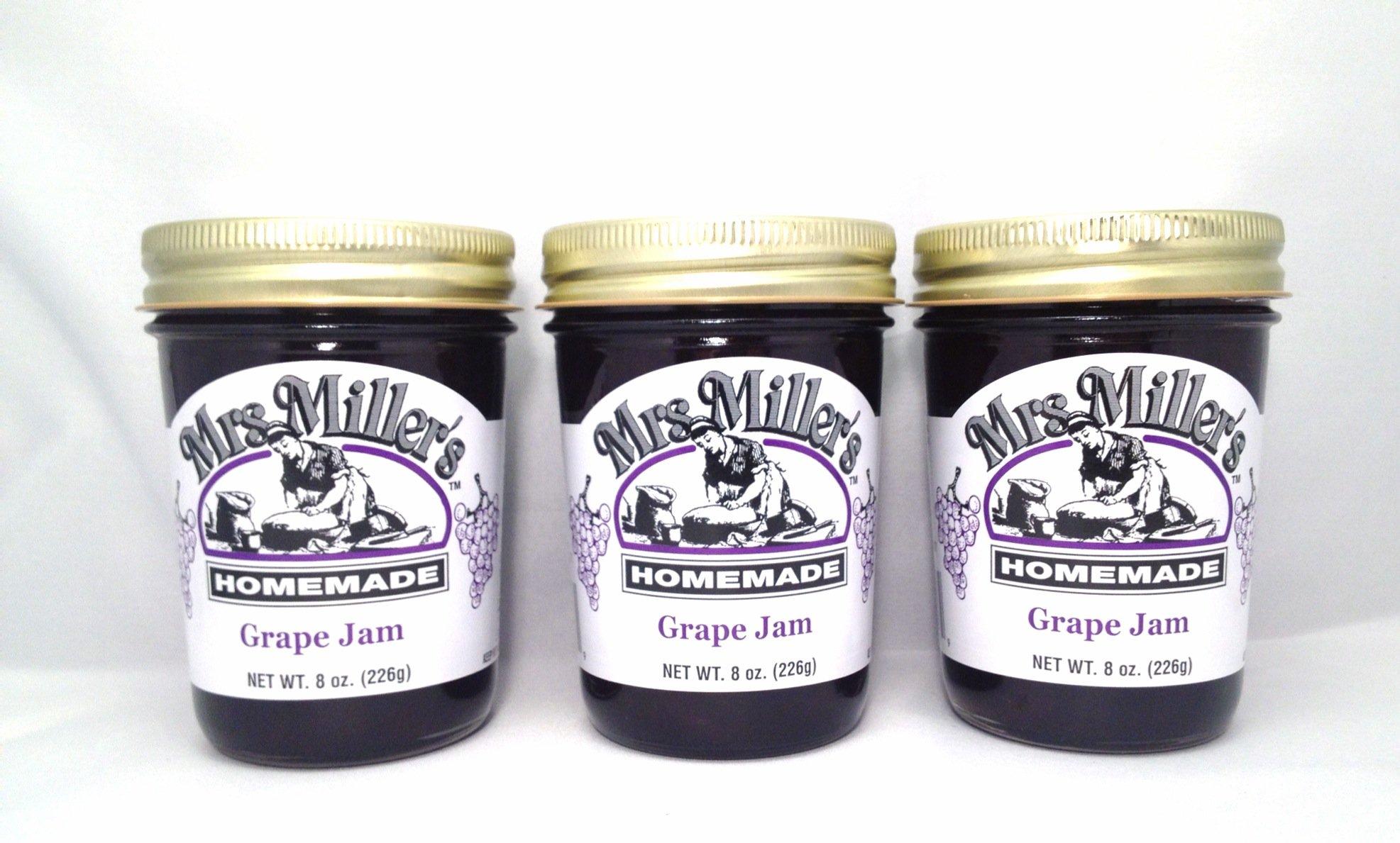 Mrs. Miller's Amish Homemade Grape Jam 8 Oz. - Pack of 3 (Boxed)