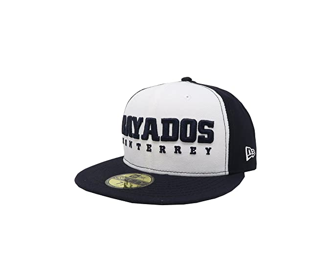 NEW ERA 59Fifty Hat Rayados De Monterrey Liga Mexicana White Navy Blue  Fitted Cap ( eeb044a09d25