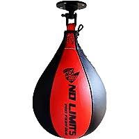 Bolsa de boxeo de piel, saco de boxeo de velocidad soporte giratorio para entrenamiento MMA, multicolor, de AQF, rojo & negro