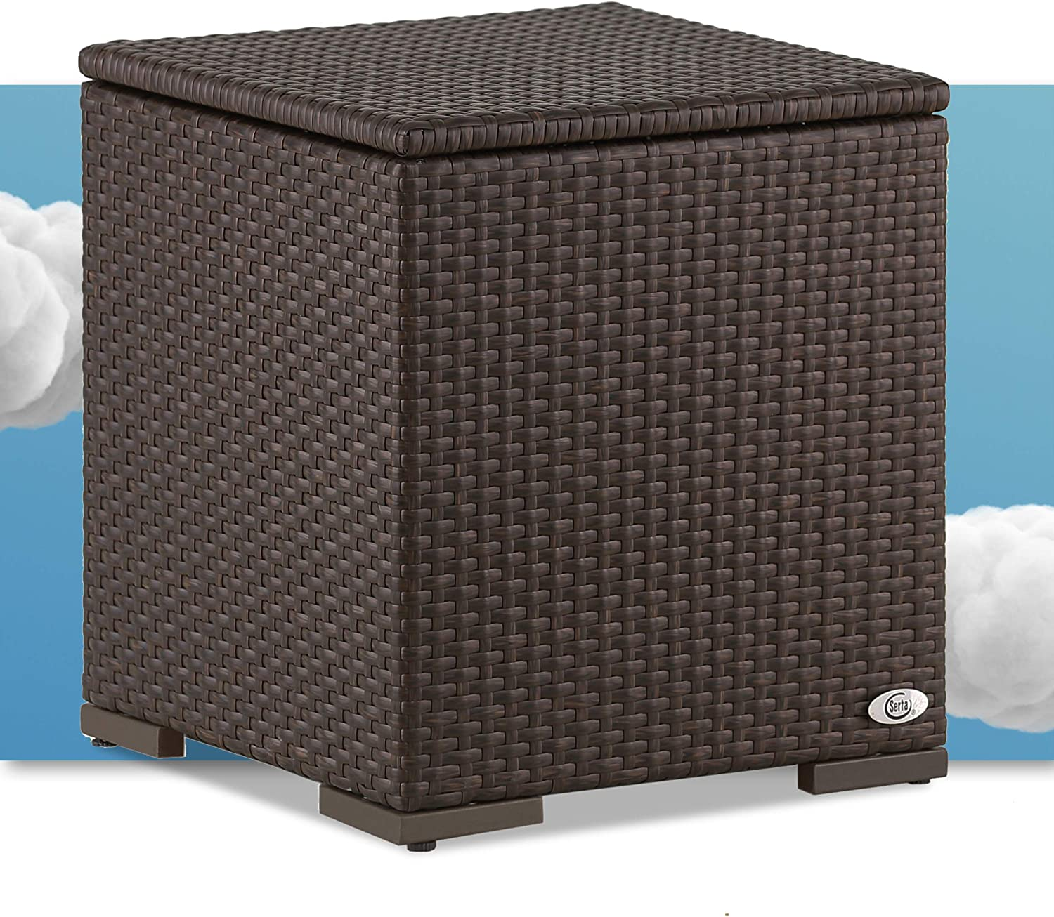 Serta Laguna Resin Outdoor Patio Furniture Collection, Side Table, Brown Wicker