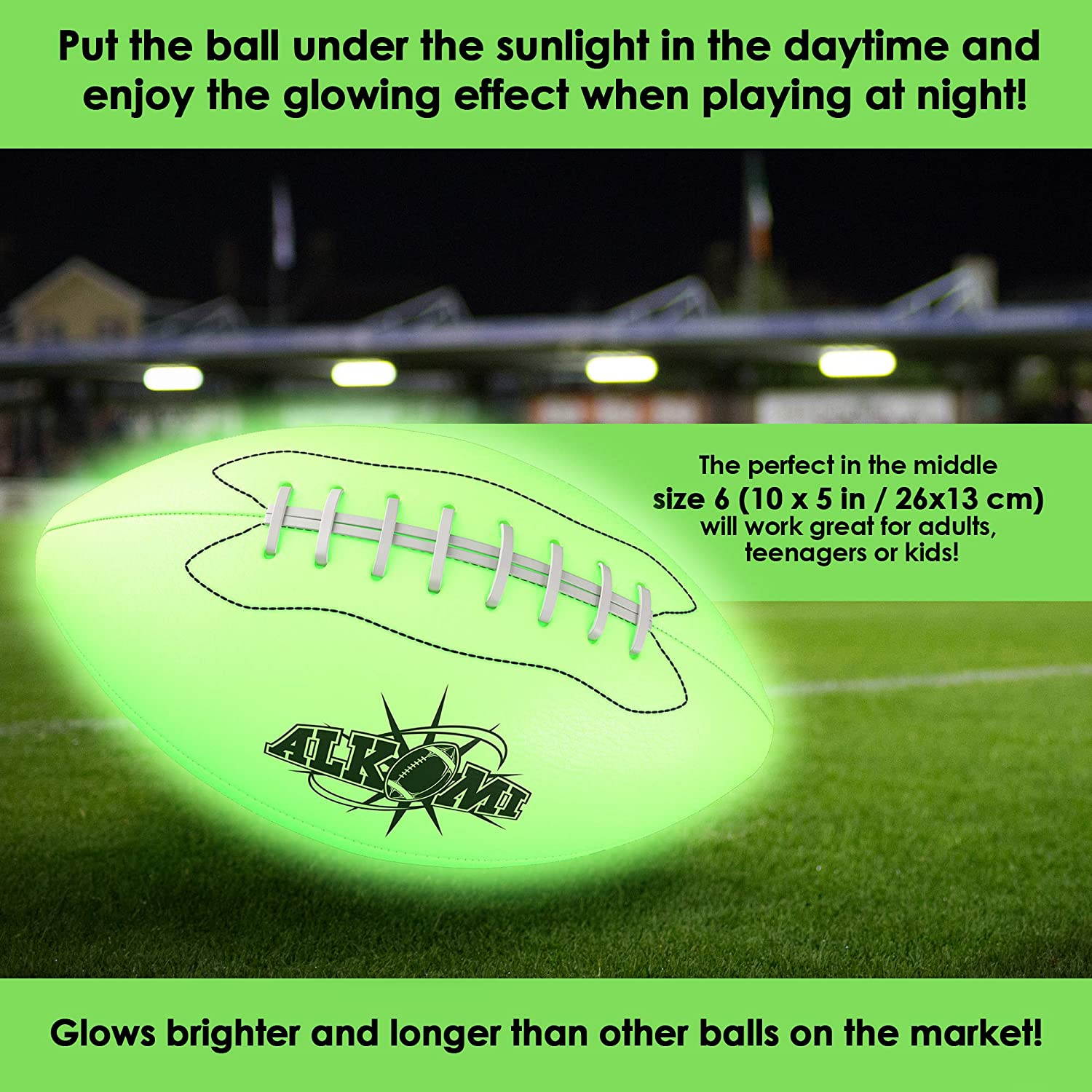 Sports Gifts for Boys Light Up Football Holographic Football Glow in Dark Football Youth Size 6 ALKOMI Glow in The Dark Football Led Football