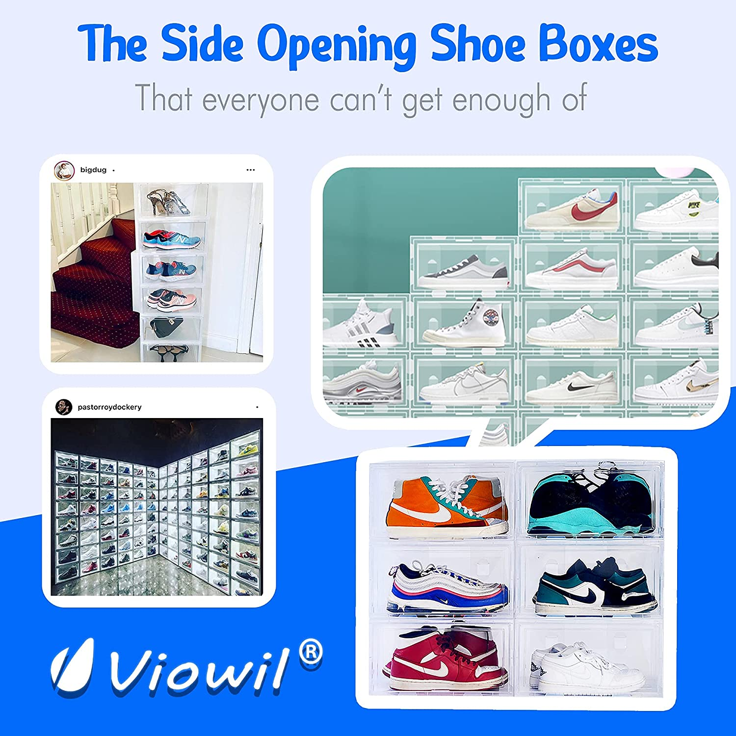 Clear Plastic Sideways Open Sneaker Shoe Holder Display Case Shoe Boxes Containers for Closet Entryway with Side Lids Mothers Day Gifts Shoe Organizer Storage Stackable Box 6 Pack