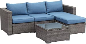 Wisteria Lane 5 PCS Outdoor Patio PE Rattan Wicker Sofa with Ottoman Sectional Furniture Conversation Set for Garden Backyard,Blue Cushion