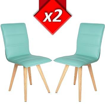 VS Venta-stock Pack 2 sillas tapizadas Viena Color Azul, Patas ...