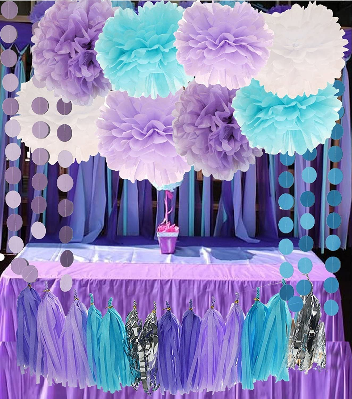CHERRY DOWN Purple Lilac Blue White and Silver 26pcs Party Decoration Set