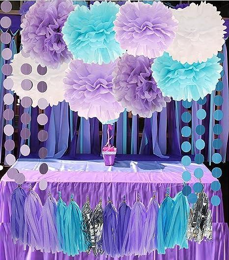 Amazon Com Purple Lilac Blue White And Silver 26pcs Party