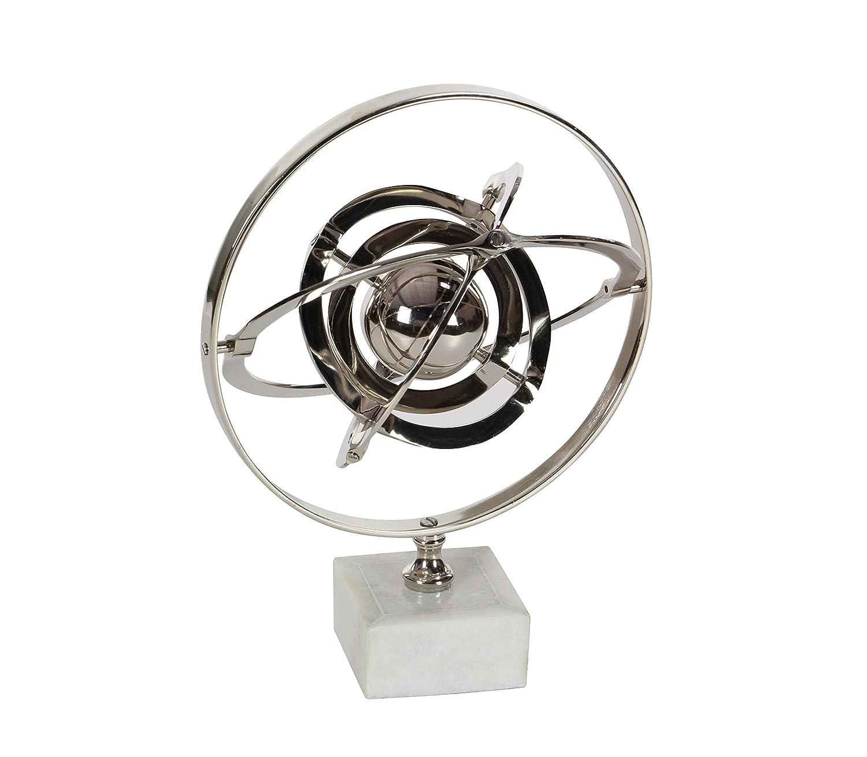Silver//White Deco 79 28533 Aluminum and Ceramic Armillary Sphere Sculpture 12 x 18