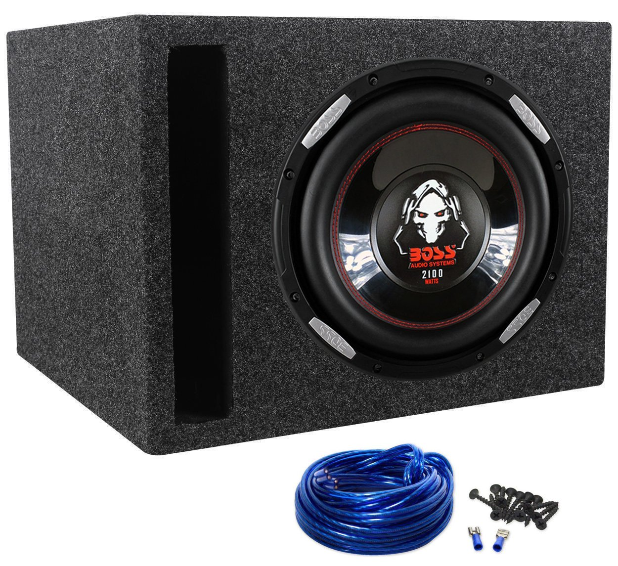 "Package: Boss P106DVC 2100 Watt 10'' Dual 4-Ohm Voice Coil Car Subwoofer + Rockville RSV10 Single 10"" Vented Subwoofer Enclosure + Single Enclosure Wire Kit With 14 Gauge Speaker Wire + Screws + Spade Terminals"