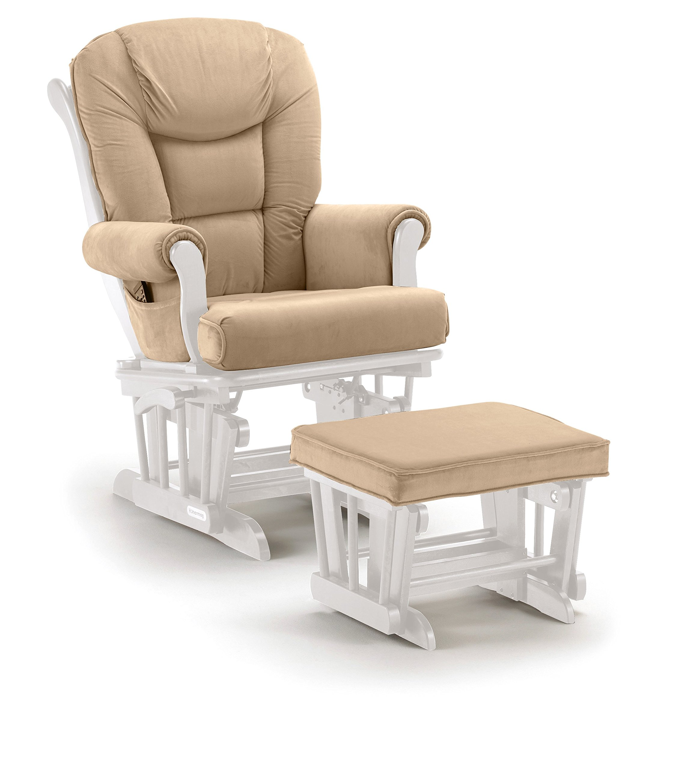Lennox Multiposition-lock Glider Chair and Ottoman Combo, White with Pearl Beige