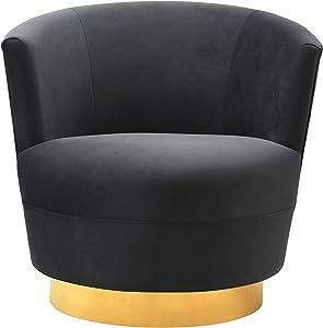 TOV Furniture The Noah Collection Modern Velvet Swivel Accent Chair, Black