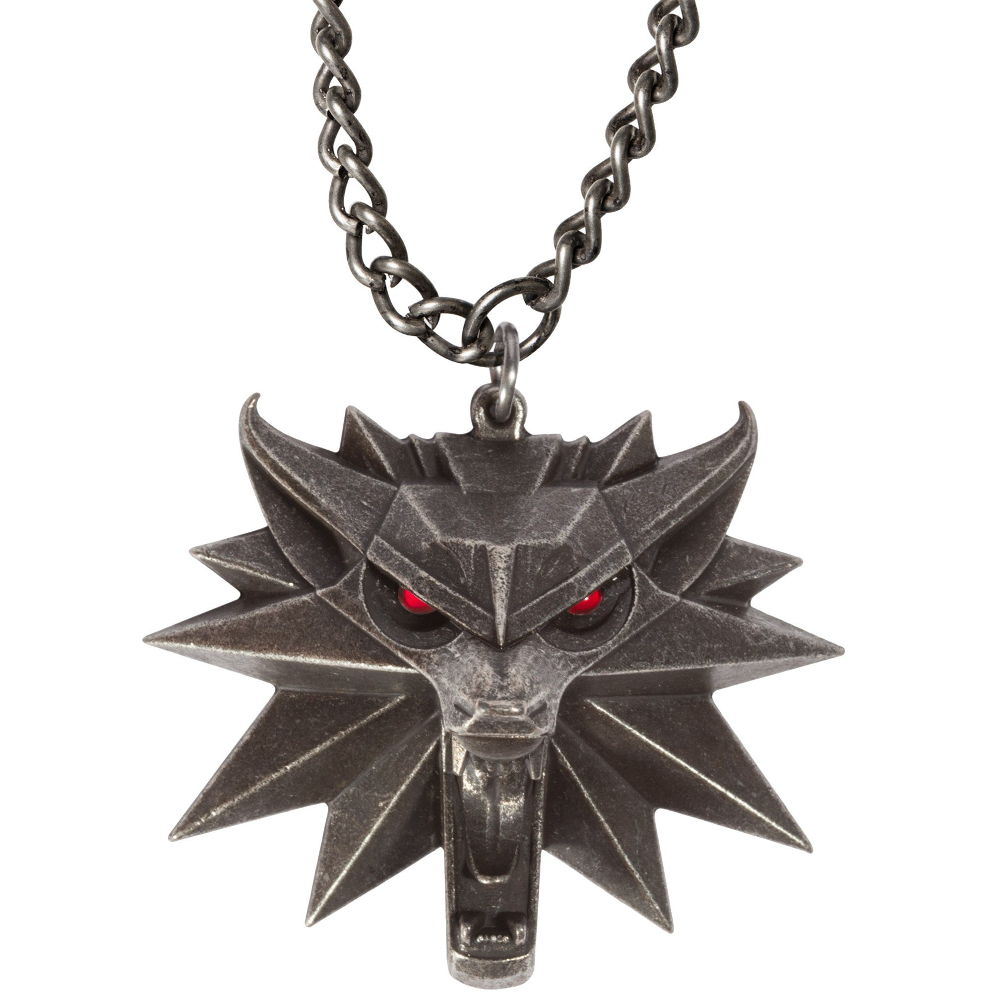 JINX The Witcher 3 Necklace with Wild Hunt Medallion & Chain + LED Eyes