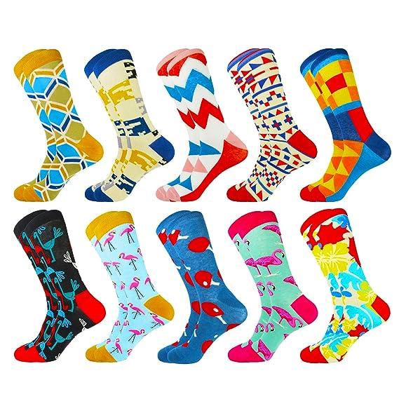 HIWEAR Vestido para hombre Colorido Diseño divertido Comodidad peinada Algodón Crew Pack de calcetines (10PK