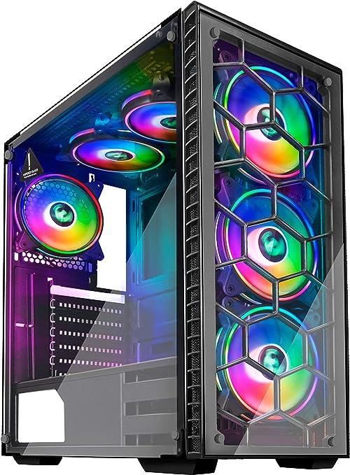 MUSETEX - Caja ATX para Torre de Videojuegos, 2 Paneles de Cristal ...