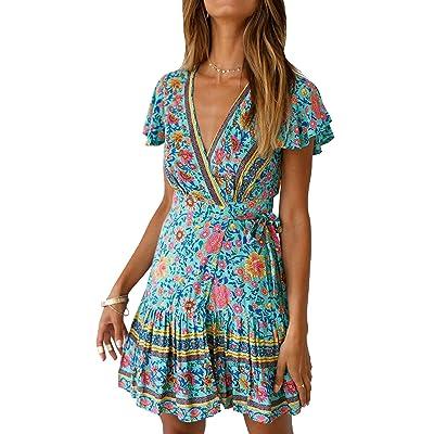 ECOWISH Women's Summer V Neck Bohemian Floral Print Ruffle Swing A Line Beach Mini Dress at Women's Clothing store
