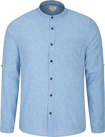 Mountain Warehouse Grandad Camisa de Lino para Hombre - Camiseta Ligera, Corte Holgado, Bolsillo en el Pecho - Ideal para Viajar, al Aire Libre, Senderismo y Acampar: Amazon.es: Ropa y accesorios