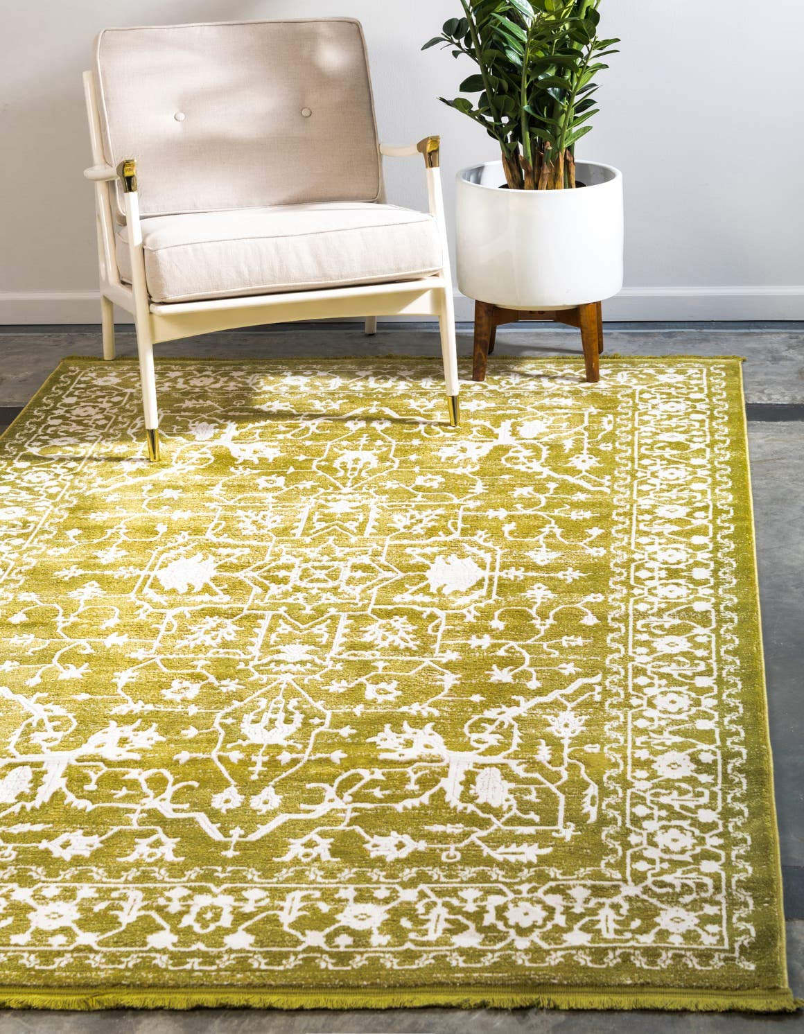 Unique Loom New Classical Collection Traditional Distressed Vintage Classic Light Green Area Rug 4 0 x 6 0