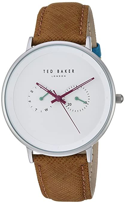 Ted Baker Men's 'Brad' Quartz Stainless Steel and Leather Casual Watch Men at amazon