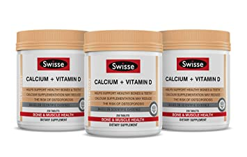 Swisse Ultiboost Calcium Plus Vitamin D Tablets, Three Pack (250 Tablets/Bottle)