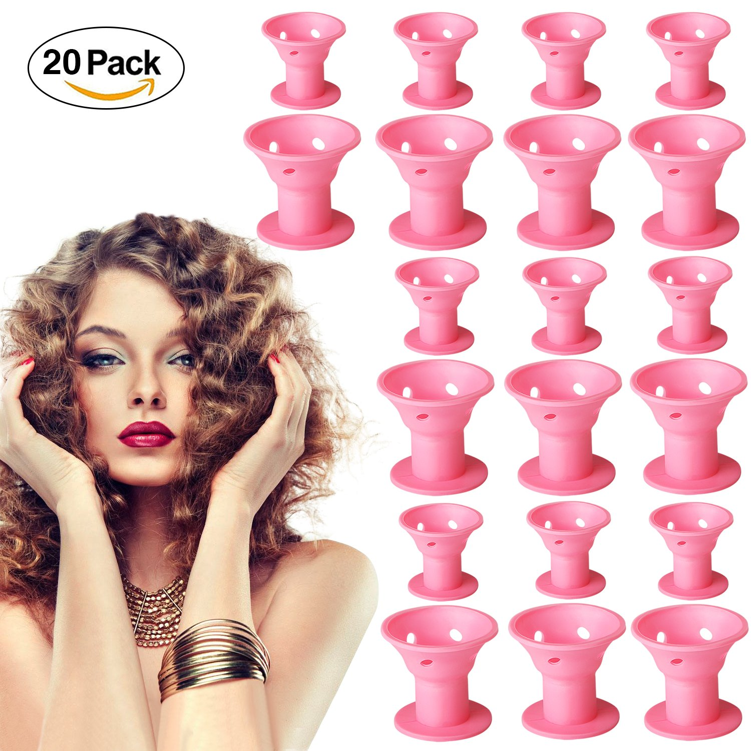 20 Packs DIY Magic Hair Curlers Rollers, Silicone No Clip Hairstyle Curling Modeling Tools - No Heat No Damage Hair- for Beauty women girl (pink)