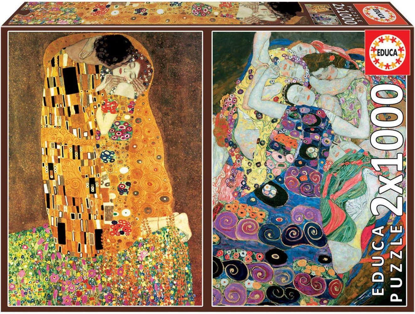 Educa Borras - Serie Art Collection, 2 puzzles de 1.000 piezas, El Beso y La Virgen de Gustav Klimt (18488): Amazon.es: Juguetes y juegos