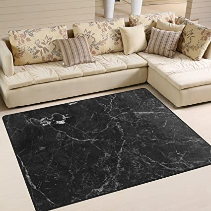 . Amazon com  Naanle Abstract Area Rug 5 x7   Black Marble Polyester