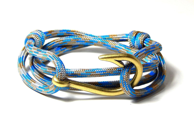 Blue Sky Outdoor Gear Mens Womens Nautical Fish Hook Bracelet Surf and Sand Brass Tone Fish Hook Adjustable