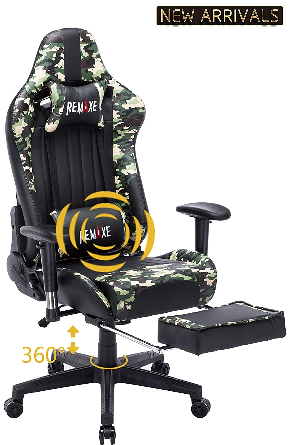Large Size Computer Gaming Chair Ergomonic Racing Chair with Retractable Footrest,Execultive PU Leather Headrest Lumbar Massager Cushion Ergonomic Swivel PC Chair for Home (Black) Remaxe