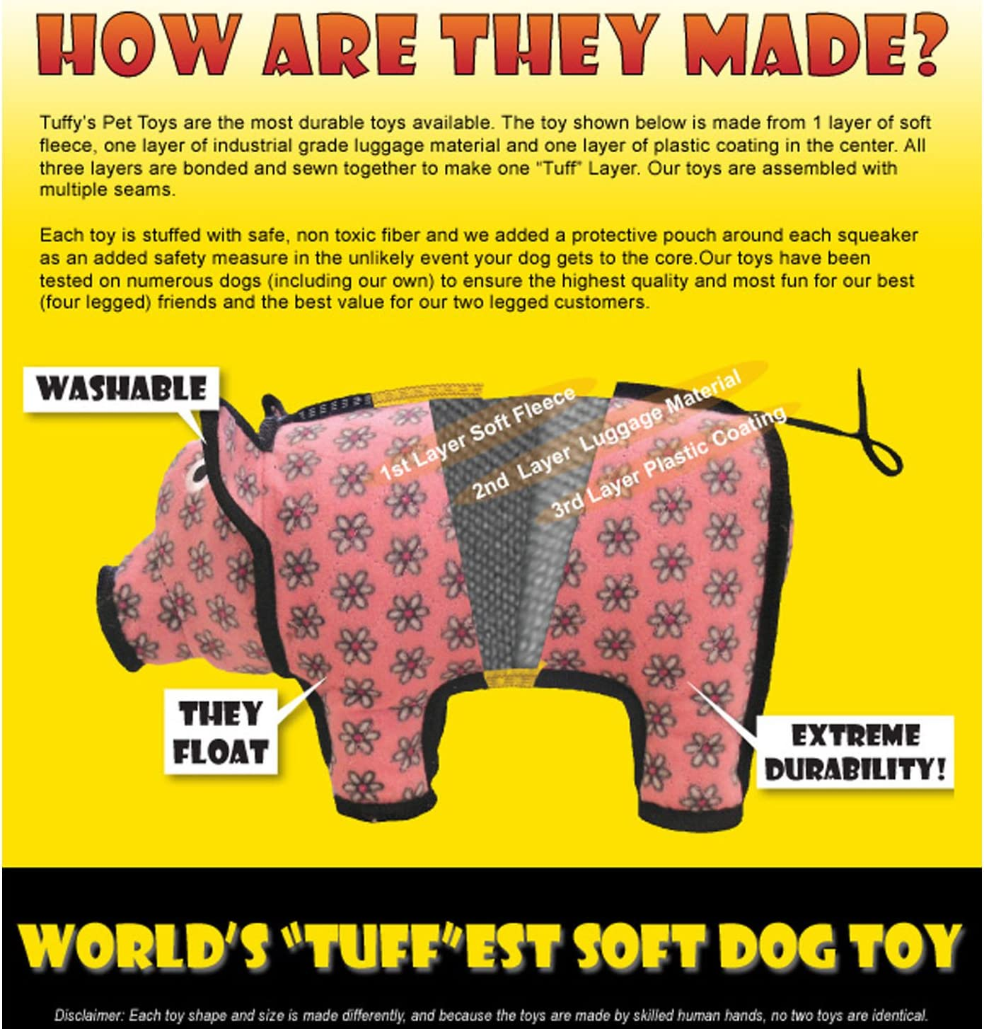 Strong /& Tough Multiple Layers Machine Washable /& Floats. NO Squeakers Made Durable Interactive Play Tug, Toss /& Fetch TUFFY Worlds Tuffest Soft Dog Toy Barnyard Sheep