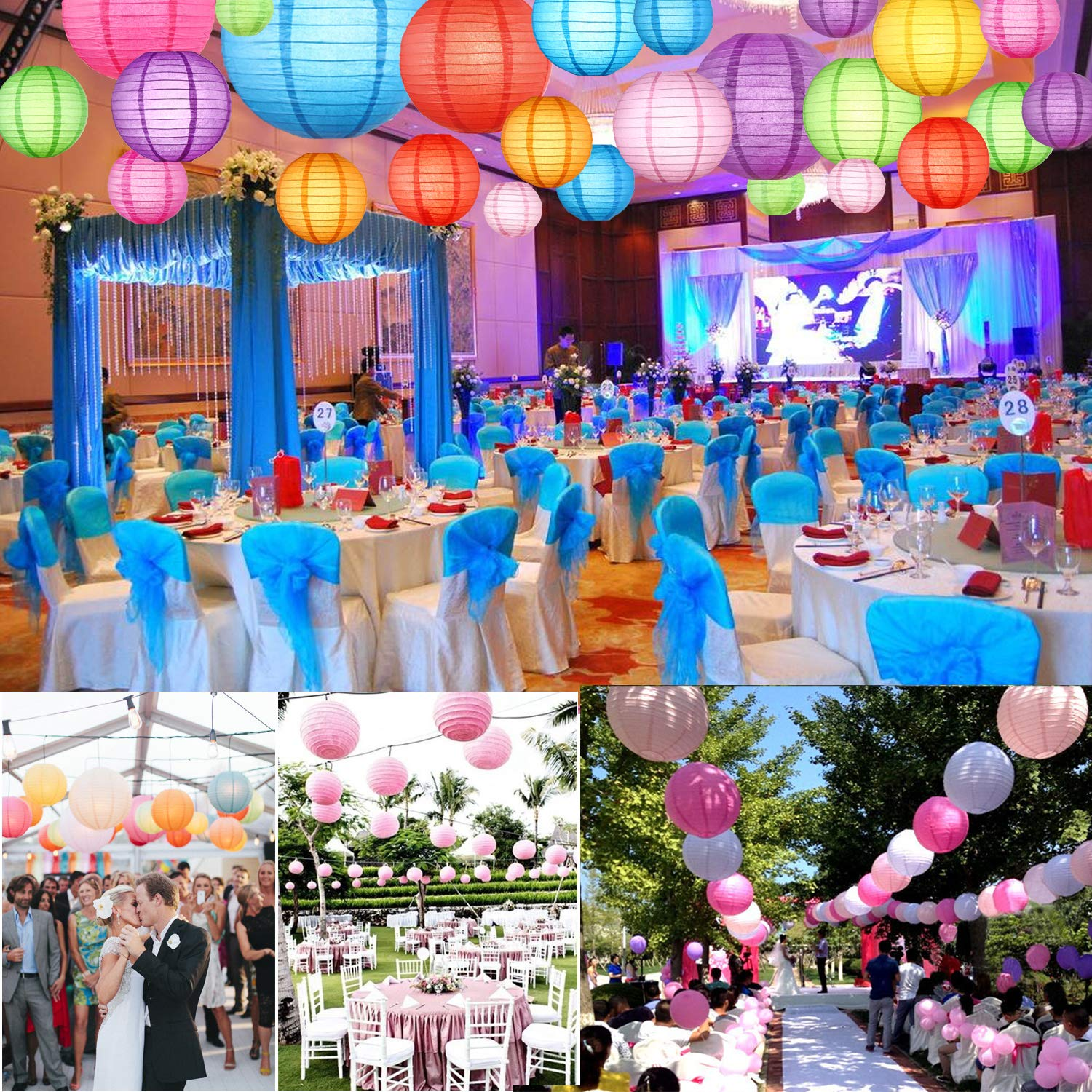 Paper Lanterns Decorative 25 PCS, Chinese Japanese Lanterns Colorful Hanging Paper lanters Balls for Birthday Wedding Baby Showers Home Fiesta Party Decorations, Very Pretty (Sizes of 4 6 8 10 12inch)