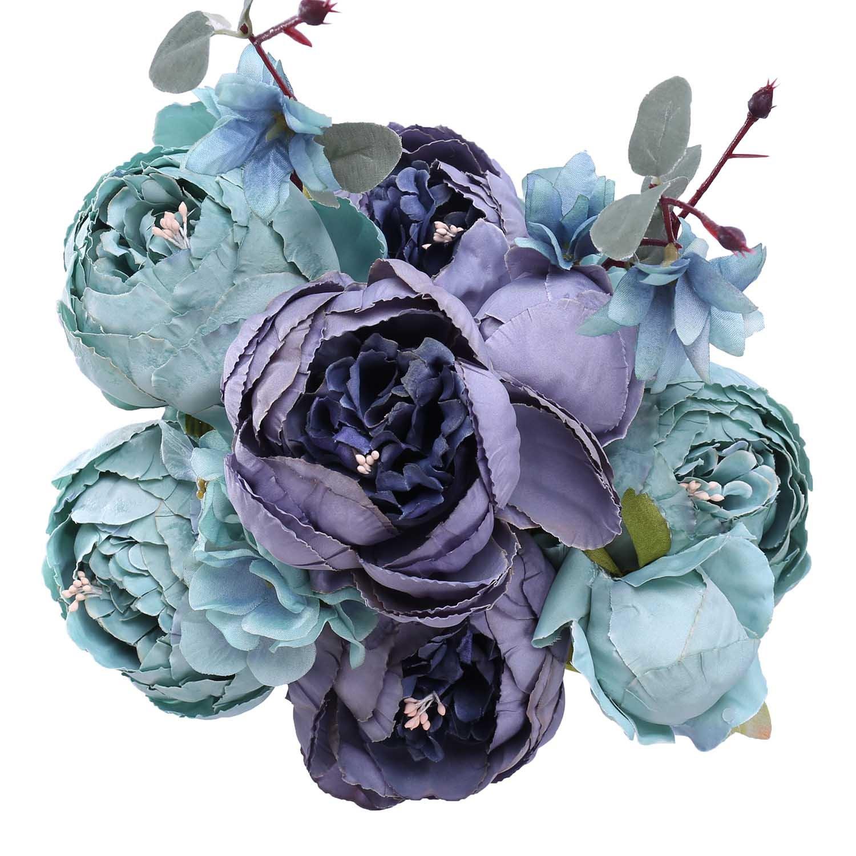 starlifeyフェイク牡丹シルクブーケPeoniesウェディングCenterpiece装飾ばねシミュレーション花 B07B4RG7VW New Grey Blue New Grey Blue