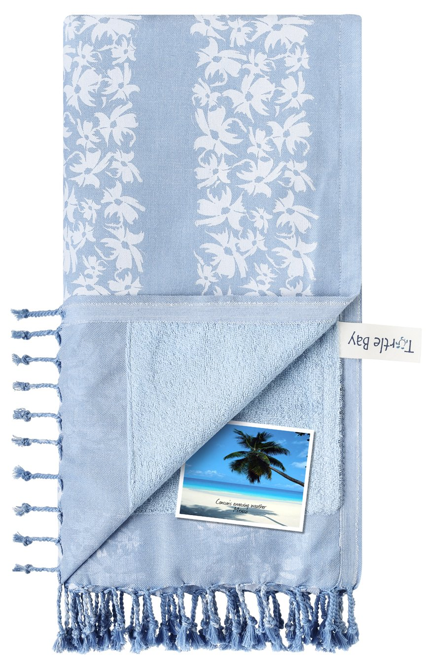 Turtle Bay - Toalla de Playa/Pareo - Toalla de baño - Kikoy Towel Hawaiian Stripe - Color : Sky/White - Tamaño : 95 x 170 cms: Amazon.es: Hogar